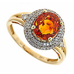 Fierra™ 14K Gold 4.98ctw Mandarin Garnet & Diamond Ring - Size 7