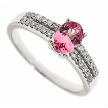 Jewelry Last Chance On Discounted Diamonds - 141-317 Fierra™ 14K White Gold Pink Spinel & Diamond Ring - Size 7 - 141-317