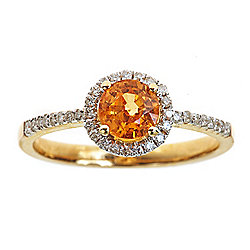 Fierra™ 14K Gold 1.21ctw Mandarin Garnet & Diamond Halo Ring - Size 7