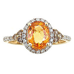 Fierra™ 14K Gold 2.75ctw Mandarin Garnet & Diamond Ring - Size 7