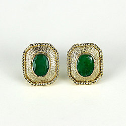Sonia Bitton Galerie de Bijoux® 14K Gold 1.50ctw Oval Emerald Stud Earrings