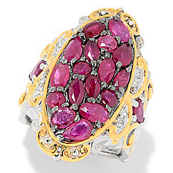 Gems en Vogue 4.29ctw Multi Shape Ruby & White Sapphire Elongated Ring