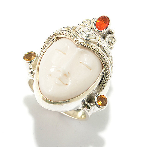Offerings Sterling Silver Carved Bone Mexican Fire Opal Citrine Ring Shophq