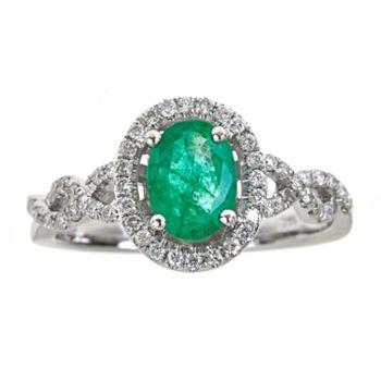 Precious Gemstones Ft. Diamonds & Emeralds - 149-715 Fierra™ 14K White Gold 1.45ctw Emerald & Diamond Oval Halo Ring - Size 7 - 149-715