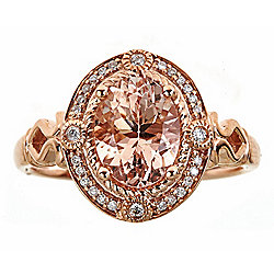 Fierra™ 14K Rose Gold 1.97ct Morganite & Diamond Ring - Size 7