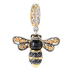 Charmed en Vogue 6mm Onyx & Black Spinel Bumblebee Drop Charm