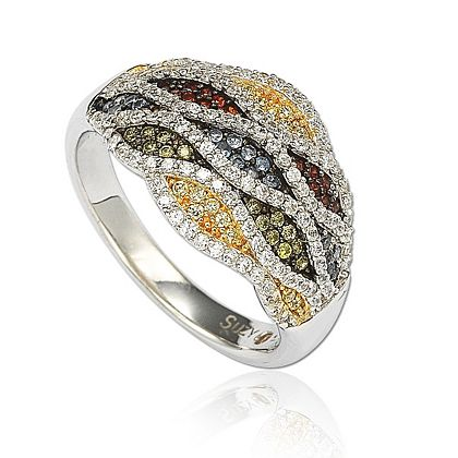 Web Exclusive Finds Items You Won't See On TV - 151-371 Suzy Levian New York Sterling Silver 1.73 DEW Multi Color Simulated Diamond Ring