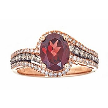 Romantic Stones Red, Pink And White Gems 151-535 Fierra™ 14K Rose Gold 2.68ctw Rhodolite & Diamond Ring - Size 7 - 151-535