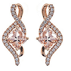 Fierra™ 14K Rose Gold 2.02ctw Morganite & Diamond Drop Earrings