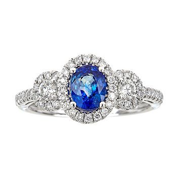 September Birthstone Shop Sapphires Before Month's End - 152-596 Fierra™ 14K White Gold 1.47ctw Sapphire & Diamond Halo Ring - Size 7 - 152-596