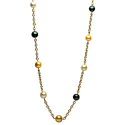 "Prestige Pearls® 14K Gold 36"" 12-15mm Multi Color South Sea Cultured Pearl Station Necklace"