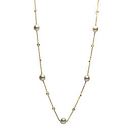 "Prestige Pearls® 14K Gold 36"" 11-13mm South Sea Cultured Pearl & White Topaz Station Necklace"