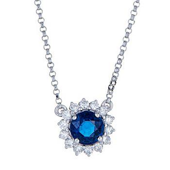 155-737 Fierra™ 18K White Gold 18 1.20ctw Sapphire & Diamond Necklace - 155-737