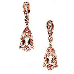 Fierra™ 14K Rose Gold 3.24ctw Morganite & Diamond Drop Earrings