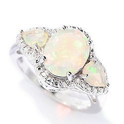 Gem Insider® Sterling Silver Multi Shape Ethiopian Opal Three-Stone Ring