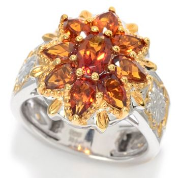 157-678 Gems en Vogue 2.00ctw Oval & Pear Shaped Madeira Citrine Flower Ring - 157-678