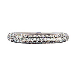 Signature Luxe 18K White Gold 0.91ctw Diamond Band Ring - Size 6.5