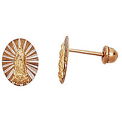 14K Gold Textured Oval Virgin Mary Stud Earrings