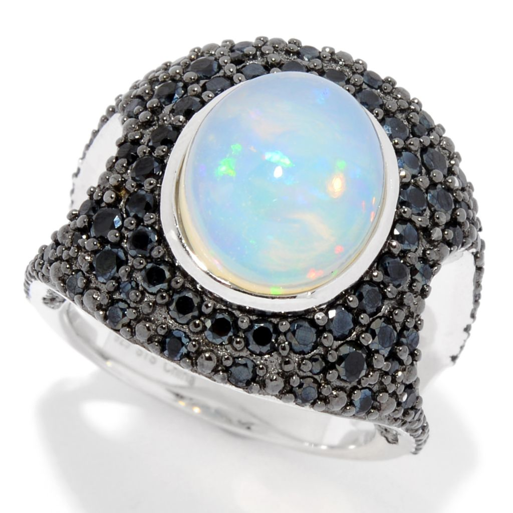 Rainbow Like Black Opal Ring Sterling Silver Ring Setting Oval With Black Spinel Black Opal Ring Ethiopian Opal SZ 7 Gift For Her