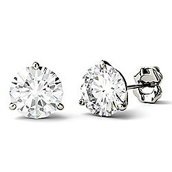 Forever One Colorless Moissanite 14K White Gold 3.00 DEW Martini Stud Earrings