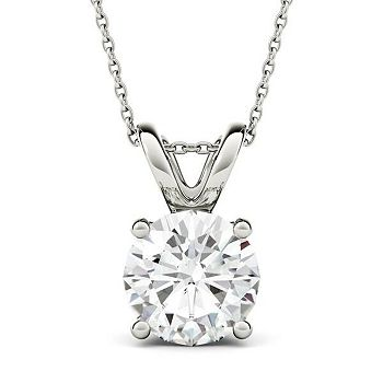 Moissanite Sale - 160-177 Forever One Colorless Moissanite 14K White Gold Solitaire Pendant w 18 Chain - 160-177