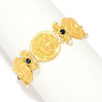 Artisan Jewelry Sale - 160-797 Tagliamonte 18K Gold 6.75 Cultured Pearl & Gem Medusa Station Bracelet - 160-797