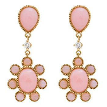 6 ValuePay® Payments On Jewelry Over 50% Off-  160-893 Fierra™ 14K Gold 1.25 Pink Opal & Diamond Flower Drop Earrings - 160-893