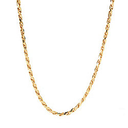 Stefano Oro 14K Gold Choice of Length Semi-Solid Diamond Cut Rope Necklace