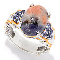 Gems en Vogue 14 x 10mm Iolite Sunstone & Iolite Ring