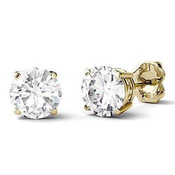 Moissanite Sale Brilliant Sparkling Gems - 165-049 Forever One Moissanite 14K Gold 2.00 DEW Round Stud Earrings - 165-049