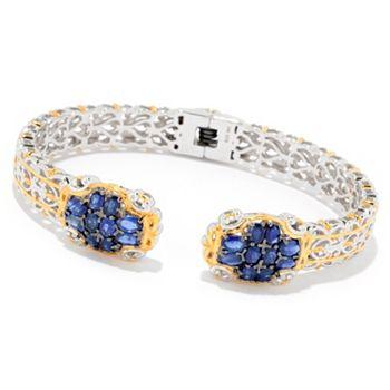 Gems en Vogue 5.10ctw Royal Blue Sapphire Kissing Cuff Bracelet - 165-125