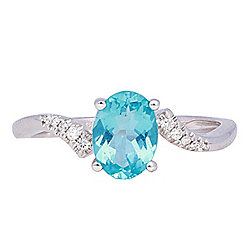 Fierra™ 18K White Gold 1.21ctw Apatite & Diamond Ring - Size 7
