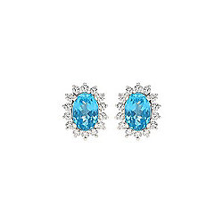 Fierra™ 18K White Gold 2.10ctw Apatite & Diamond Stud Earrings