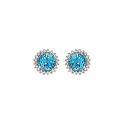 Fierra™ 14K White Gold 2.21ctw Apatite & Diamond Stud Earrings