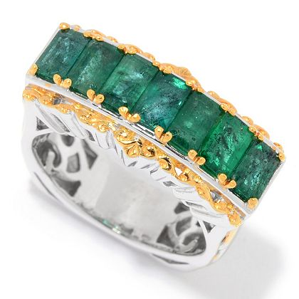 Lowest Prices Ever New Items Added Daily 165-471 Gems en Vogue 2.10ctw Emerald 7-Stone East-West Ring