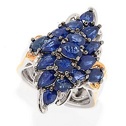 Gems en Vogue 3.97ctw Royal Blue Sapphire North-South Cluster Ring