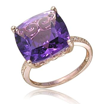 February's Birthstone Final Day Sale! - 165-600 LALI Jewels 14K Rose Gold 6.19ctw Cushion Cut Amethyst & Diamond Ring - 165-600