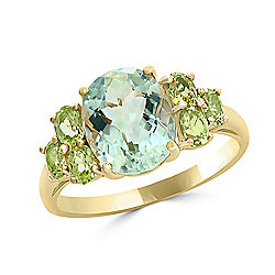 LALI Jewels 14K Gold 3.16ctw Prasiolite & Peridot Ring