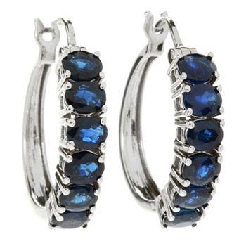 Earrings - Gemporia 3.45ctw Australian Sapphire Hoop Earrings - 166-283