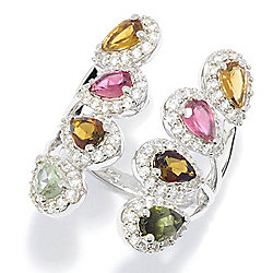 Gemporia 3.67ctw Multi Color Tourmaline & Gem Elongated Ring