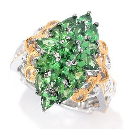 Sunday Flash Sale Limited Time Deals - 166-942 Gems en Vogue 2.62ctw Oval & Pear Shaped Tsavorite Cluster Ring