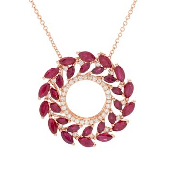 EFFY Up To 40% Off - EFFY Amore 14K Rose Gold 4.38ctw Marquise Cut Ruby & Diamond Wreath Pendant - 167-028