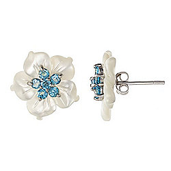 Kwan Collections Sterling Silver 16mm Mother-of-Pearl & Blue Topaz Flower Stud Earrings