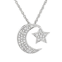 "Diamond Treasures® Sterling Silver 0.15ctw Diamond Moon & Star Pendant w/ 18"" Chain"