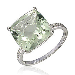 LALI Jewels 14K White Gold 6.50ctw Prasiolite & Diamond Ring