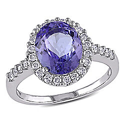 Julianna B 14K White Gold 2.92ctw Tanzanite & Diamond Halo Ring