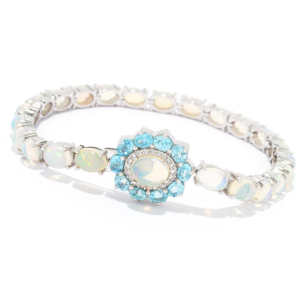 Details about  /Meher/'s Jewel Ethiopian Opal /& Rhodolite Gemstone Sterling Silver Line Bracelet