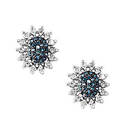 "EFFY ""Bella Bleu"" 14K White Gold 1.24ctw White & Blue Diamond Stud Earrings"