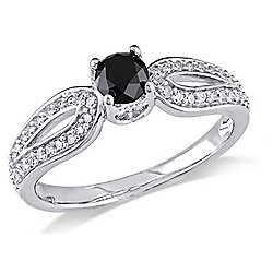 Julianna B 14K White Gold 0.50ctw Black & White Diamond Split Shank Engagement Ring