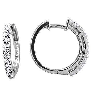 169-312 Sonia Bitton Galerie de Bijoux® 14K White Gold 0.48ctw Diamond Hoop Earrings - 169-312